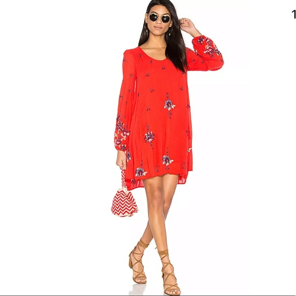 Free People Bright Rich Red Embroider Dress Small